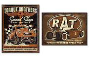 Set Of 2 Vintage-style Signs - Torque Brothers Speed Shop Hot Rod Rat Rod