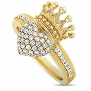 King Baby 18k Yellow Gold And Diamond Crowned Heart Ring