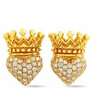 King Baby 18k Yellow Gold And Diamond Crowned Heart Earrings