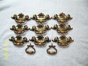 Vintage Brass Plated Drawer Pull Cabinet Knobs With Wood 9 Large And 2 Small