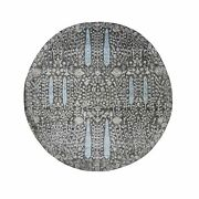7and0391x7and0391 Round Cypress Tree Design Silk With Textured Wool Oriental Rug G48944
