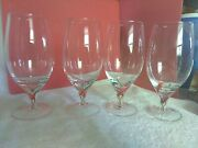 Set Of 4 Lenox Red/green Swirl Stem Coupe Glasses Wine, Water, Beer     29a