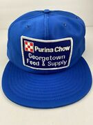 Vintage Purina Chow Blue Snapback Trucker Hat Cap Patch Louisville Mfg Co Usa