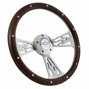 14 Real Wood And Polished Flamed Steering Wheel Chevrolet Truck 1948 - 2002