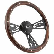 14 Real Wood And Black Flamed Steering Wheel Chevrolet Truck Any 1948 - 2002