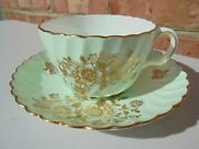 Antique Mintons Porcelain Cup And Saucer Green Swirl W Gold Flowers