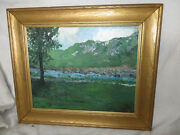 American Impressionist Wally Ames Oil On Masonite Painting Mountains Vermont Ct