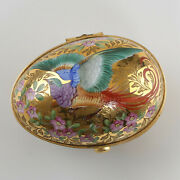 And Co. Limoges Porcelain France Golden Egg With Bird Flowers Butterflies