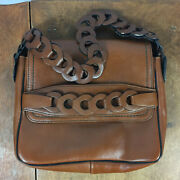 Vintage 60s 70s Leather Hyde Purse Brown Mid Century Bag Clutch Atomic Retro
