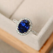 2.65 Ct Natural Blue Sapphire Diamond Ring 14k Solid White Gold Rings Size 6 7 8