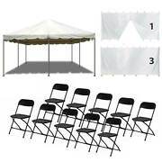 20x20and039 Steel Frame Tent Drive-thru Medical Canopy With Sidewall 10 Folding Chair
