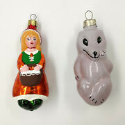 Glass Ornaments 2pcs Little Red Riding Hood And The Gray Wolf Vintage Decor