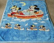 Vintage 1980s Mickey And Minnie Mouse Blue Plush Throw Baby Blanket - Large 80x72