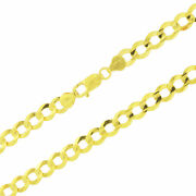 Solid 10k Yellow Gold 8mm Curb Cuban Chain Link Necklace Lobster Clasp 20- 30