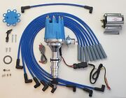 Small Cap Ford Fe 352 390 427 428 Blue Hei Distributor + 60k Coil + Plug Wires