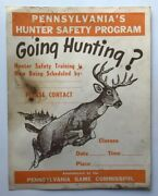 """1960's Pa Game Commission Poster Sign Hunter Safety Program """"going Hunting"""" Pgc"""
