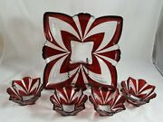 Fifth Avenue Crystal Aurora Snack Set Chip And Dip Server Ruby Accents Square Tray