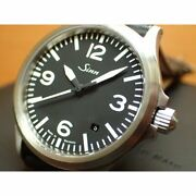 Sinn 556.a Automatic Black Silver Stainless Cow Leather Round Analog 38.5mm Mens