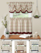 Country Farmhouse Plaid 3 Pc Tattersall Cafe Kitchen Curtain Tier And Valance Set