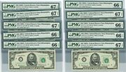 Fr. 2115c 50 1969a Federal Reserve Note 10 Consecutive 66-67epq Pmg Dc-2667