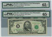 Fr. 2118-c 50 1974 2 Consec. Federal Reserve Note Dc-2561 65 Epq Pmg