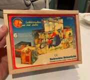 Vintage Childrens Fairy Taies Cube Puzzle In Wooden Box With Prints