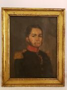 Rare 1830and039s Framed French And039july Monarchy Soldier Portraitand039 Original Oil Painting