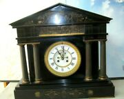 Vintage 1860 French S. Marti Black Mantle Clock- With Bronze And Quite Large