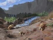 Oil Painting Saber-toothed Cat In Ice Age Landscape Natural History Science Art