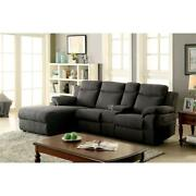 Furniture Of America Deydon Chenille Manual Reclining L-shape Sectional In Gray