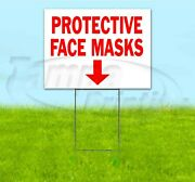 Protective Face Masks Directional Arrow 18x24 Yard Sign With Stake Bandit