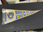 Vintage Milwaukee Brewers Full Size Pennant Brew Crew Is Back 13 In A Row