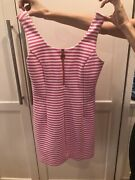 Lily Pulitzer Pink Stripped Dress With Zipper Front Size S-excellent Condition