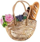 Tote With Wine And Bread Picnic Polish Glass Christmas Ornament Decoration 110260