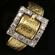 Vintage Buckle Ring 18k Gold And Diamonds Retro Ring Circa 1940 6189