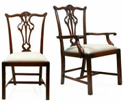 Set Of 6 Hand Carved Solid Mahogany Chippendale Dining Chairs By Alden Parkes