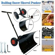 Snow Plow Shovel Pusher W/10-inch Wheelsandhandles Snow Removal Tools For Driveway