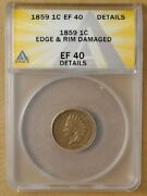 1859 Indian Head Penny Anacs Ef 40 Details