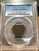 1873 Indian Head Cent. Double Liberty. Pcgs Vg10