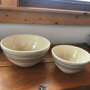 Vintage Lot Of 2 Large And Small Watts Cream W Light Pink And Blue Stripes Pottery