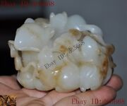 Rare Chinese Hetian Jade Jadeite Hand-carved Wealth Coin Animal Mouse Rat Statue