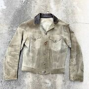 1950s Big E Western Trucker Suede Leather Jacket 50s Leviand039s Short Horn Med