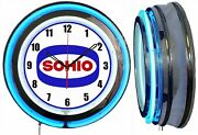 Sohio Gas And Oil 19 Double Neon Clock Blue Neon Man Cave Garage Gas Station