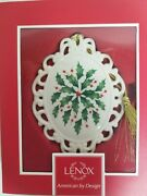 Lenox Christmas Ornament Holiday Medallion American By Design Holly Berries Box