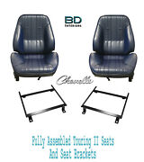 1969 Chevelle Touring Ii Assembled Front Bucket Seats And Factory Bucket Brackets