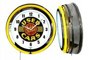 Used Cars Safety Tested 19 Yellow Neon Clock Man Cave Bar Car Lot Dealership V2
