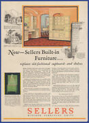 Vintage 1929 Sellers Kitchen Cabinets Cupboards Shelves Ephemera 20and039s Print Ad