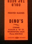 1960s Dinoand039s Cold Tap Beer Frosted Glasses Steak Sandwiches Avalon Wilmington Ca