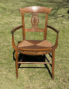Antique Early French Provincial Arm Chair Fruitwood C1800 Pierced Carved Sheaves
