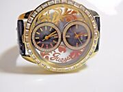 Guess U18512l1 Watch Women Crystals Gold Black Sequined Leather Floral 2 New Bat